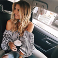 Black and white striped strapless flounced blouse Puff ,with neck strap