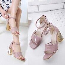 low heel women's sandals Chunky high Heels Sandals women pumps women summer shoes high heels dress shoes purple Sandals X413