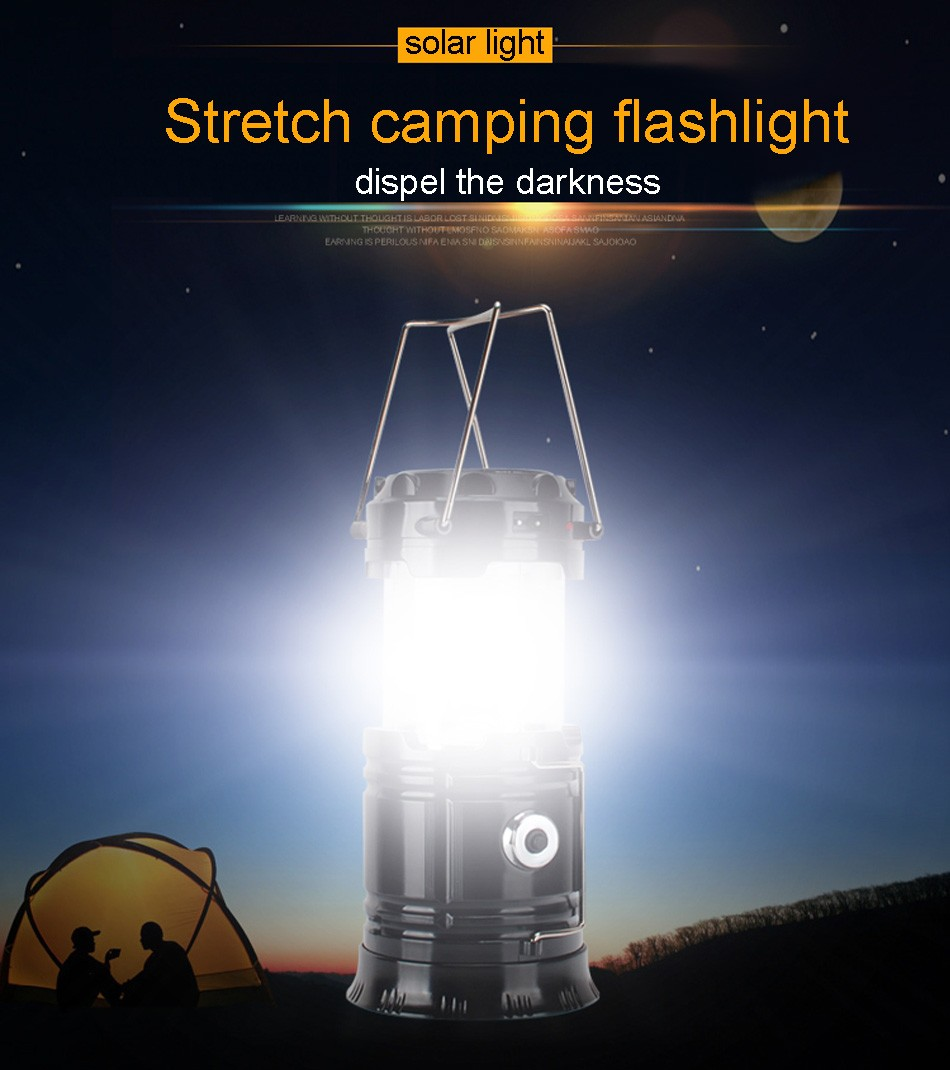 Portable Led Flashlight Solar Camping Lantern 6LEDs Rechargeable Emergency Hand Lamp Tent Light Collapsible For Outdoor Lighting (38)