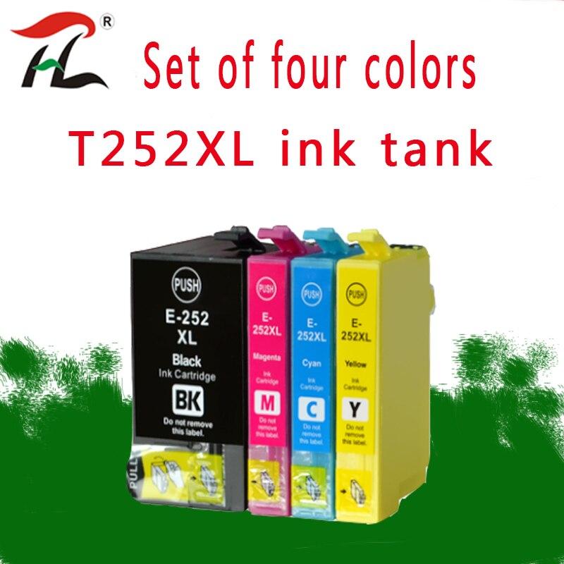 4 pcs 252XL T252XL Replacement Ink Cartridges for Epson WorkForce WF-3620 3640 7110 7610 7620 printers