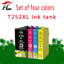 4 pcs 252XL T252XL Replacement Ink Cartridges for Epson WorkForce WF-3620 3640 7110 7610 7620 printers