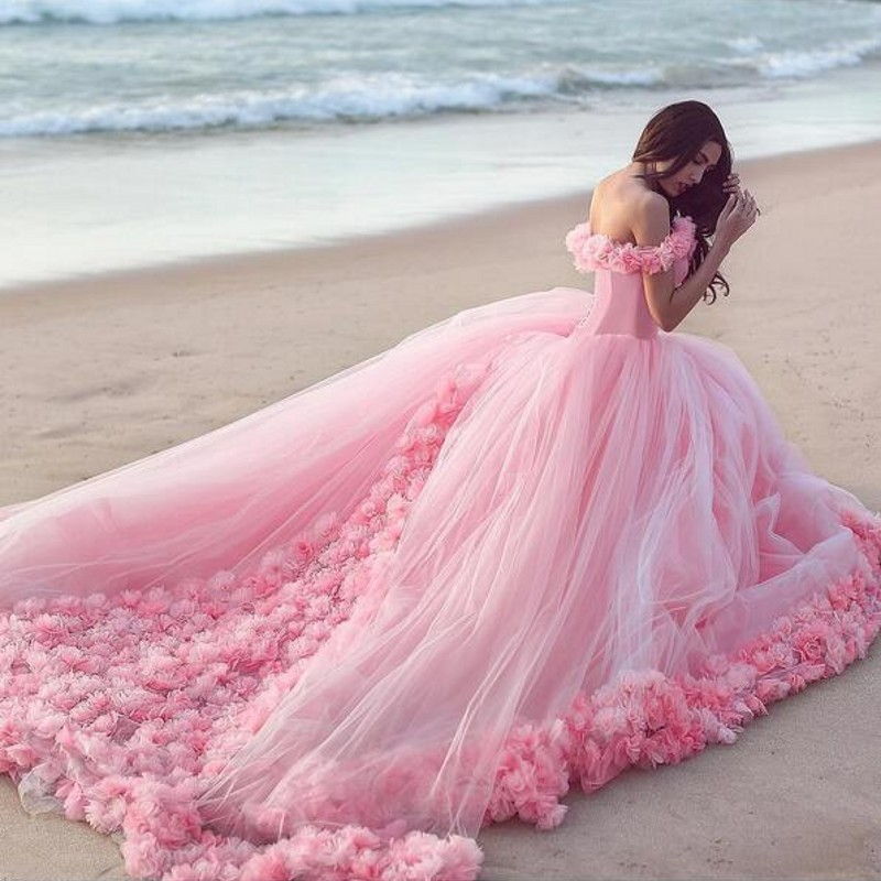39547d10b7b62 2016 Romantic Pink Wedding Dresses Sweetheart Neck Off The Shoulder ...