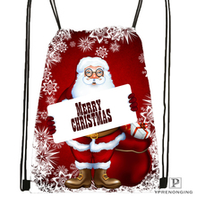 Custom Merry Christmas 09 Drawstring Backpack Bag Cute Daypack Kids Satchel Black Back 31x40cm 180531 03