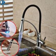Poiqihy светодиод Кухонная мойка кран Одной ручкой Pull Подпушки двухслойные с резиновой дизайн смесителя