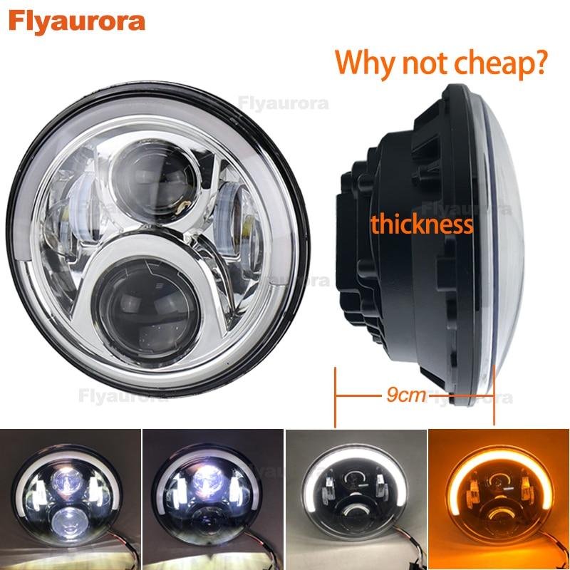 60 W LED Phares H4 H13 Salut Lo Faisceau Projecteur Projecteur Ange Yeux Voiture Lumière Moto pour Jeep CJ/ wrangler JK Flyaurora