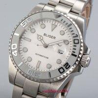 Simples 43mm Bliger vidro de safira mostrador branco data de cerâmica Rotativa bisel Caixa de Aço de Luxo Da Marca movimento Automático dos homens relógio