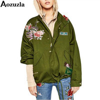 Floral Embroidery Bomber Jacket Autumn Patched Rivet Design Loose Flight Jackets Women Army Green Casual Coat Punk Outwear Y407