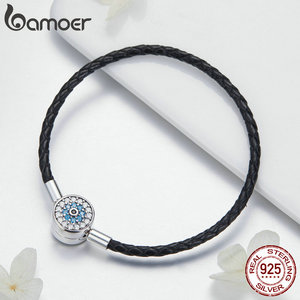 Image 4 - BAMOER Authentic 925 Sterling Silver Blue Eyes Leather Bracelets for Women Bracelets Bangles Sterling Silver Jewelry SCB113