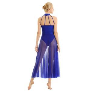 Image 3 - Women Adult Ballet Dance Dress Contemporary Modern Leotard Ballet Bodysuit with Mesh Skirt Mock Neck Ballet Leotards for Women