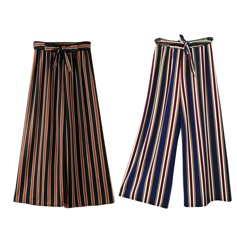 Summer Comfort Women Loose   Pants   High Waist Belt Striped Ankle Length   Wide     Leg     Pants