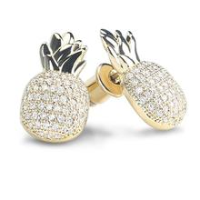 Womens Fashion Gold Color Plated Earrings Pineapple Shape Drop Dangle for Women Zircon Paved Stud
