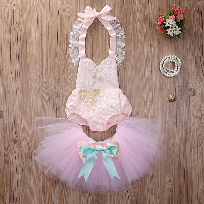 2PCs Set! Cute Infant Baby Girl Sequins Sleeveless Halter Bodysuit Romper+Tutu Skirt Outfits Set Summer Clothes Pink