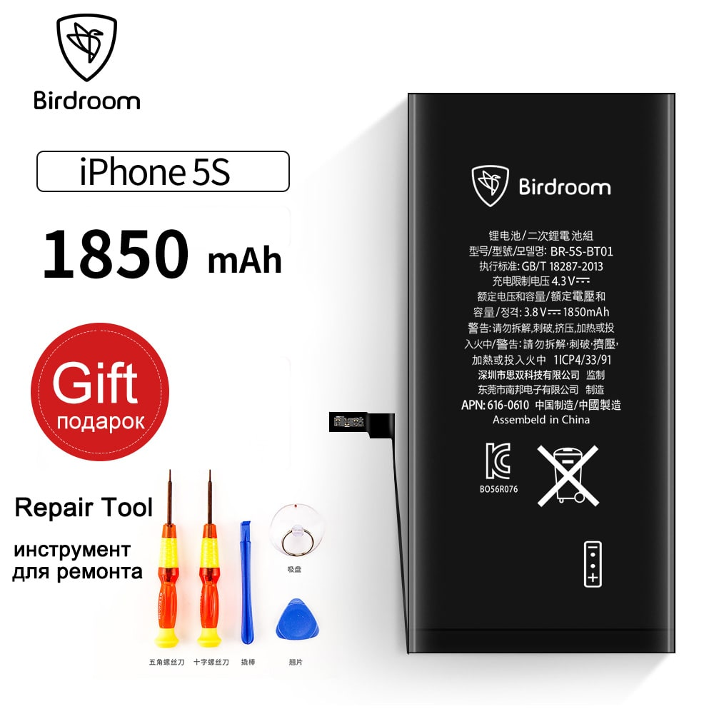 Birdroom Phone Battery For iPhone 5S 5SG 5C Capacity 1850mAh Repair Tools 100% Original 0 Cycle Replacement Batteries