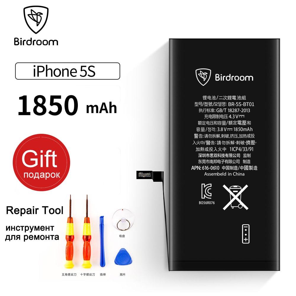 Sala de pájaros batería del teléfono para el iPhone 5S 5sg 5C capacidad 1850 mAh reparación Herramientas 100% original 0 reemplazo ciclo Baterías
