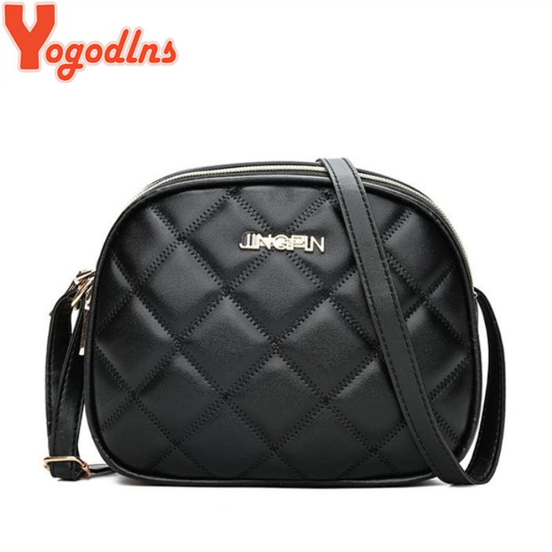 Yogodlns Fashion PU Leather Messenger Women Bag Girls Ladies Shoulder Bags Black Plaid Lattice Small Crossbody Bags Handbag