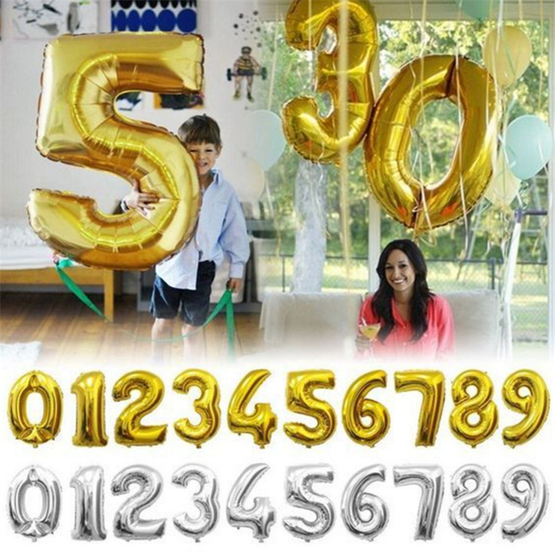 32 inch Gold Silver Number Foil Balloons Digit Air Balls Child Birthday Party Balloons Wedding Decoration Balloon Party Supplies