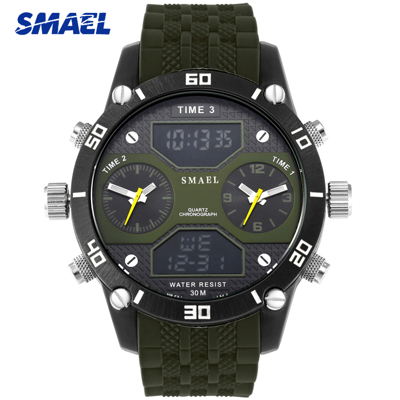 SMAEL Sports Watch Men Army Military LED Digital Quartz Alloy Big Dial Watches Fashion Casual Date Clock Mens Relogio Masculino honhx mens watch led digital date waterproof sports army males quartz watch outdoor electronics men clock relogio masculino y25