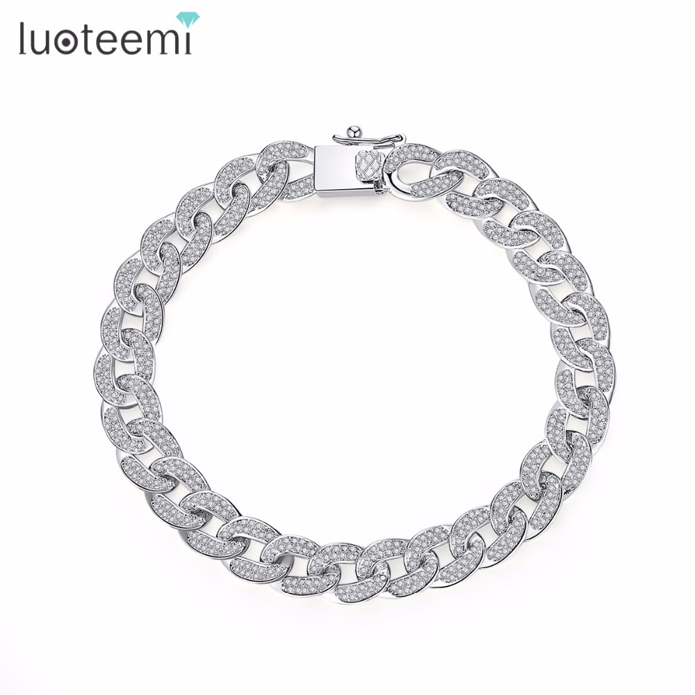 LUOTEEMI AAA Cubic Zirconia Paved Delicate Hip Hop Curb Cuban Link Chain Bracelet For Women Luxury Exquisite Party Jewelry Gifts delicate rhinestone leaf link chain hair band for women