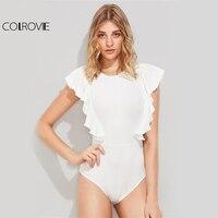 COLROVIE Ruffle Cute Textured Bodysuit Women White Cap Sleeve Slim Summer Bodysuits 2017 Fashion New Sexy