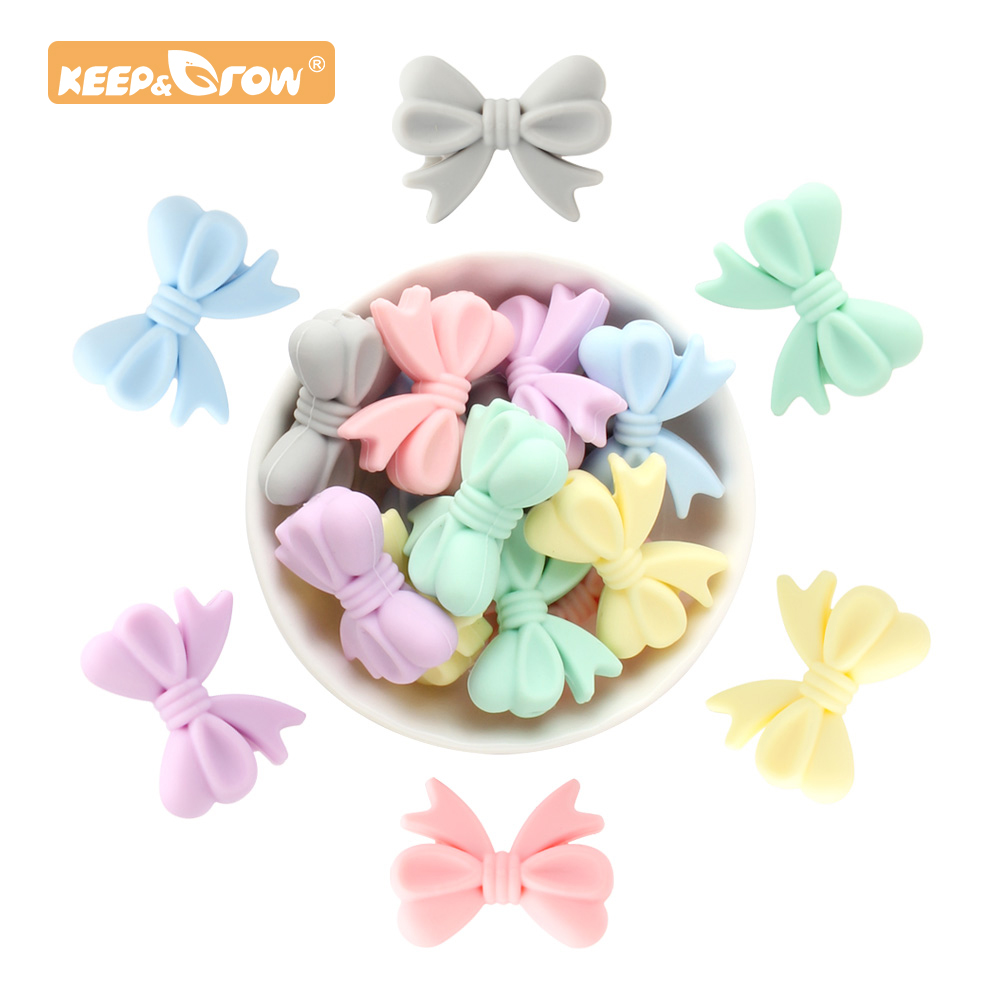 Keep&Grow 20pcs Bow Tie Silicone Beads Cartoon Baby Chewing Beads Pacifier Necklace Making Accessory Baby Products