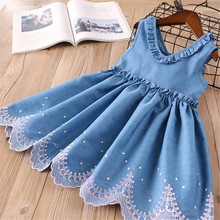 2019 Girls Denim Dress Children Clothing Summer Full Casual Baby Girls Dresses Butterfly Embroidery Dress Kids Clothes Vestidos