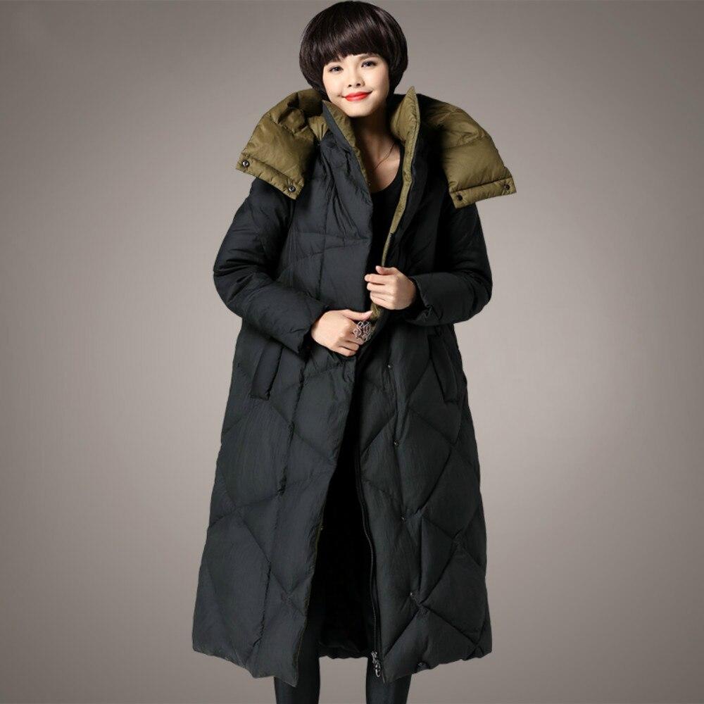 プラスサイズ M 〜 5XL 2018 冬の女性のジャケットアヒルダウン充填 X ロング厚みの女性コートフード付き暖かいパーカー高品質の服  グループ上の レディース衣服 からの ダウンコート の中 1
