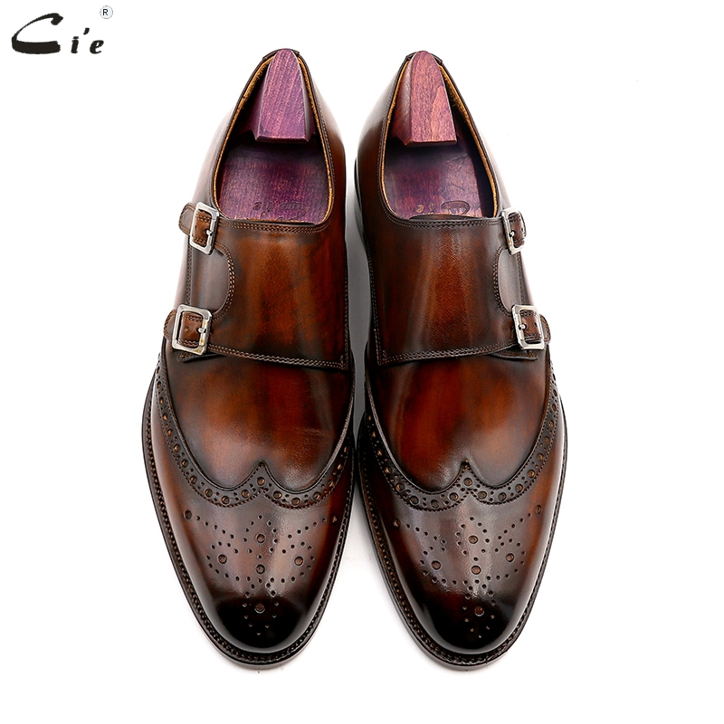 Image 4 - cie Round Toe Brogues Full Grain Genuine Calf Leather Formal Shoes Custom Mens Dress Monk Straps Office Shoe Men Elegant MS00Formal Shoes   -