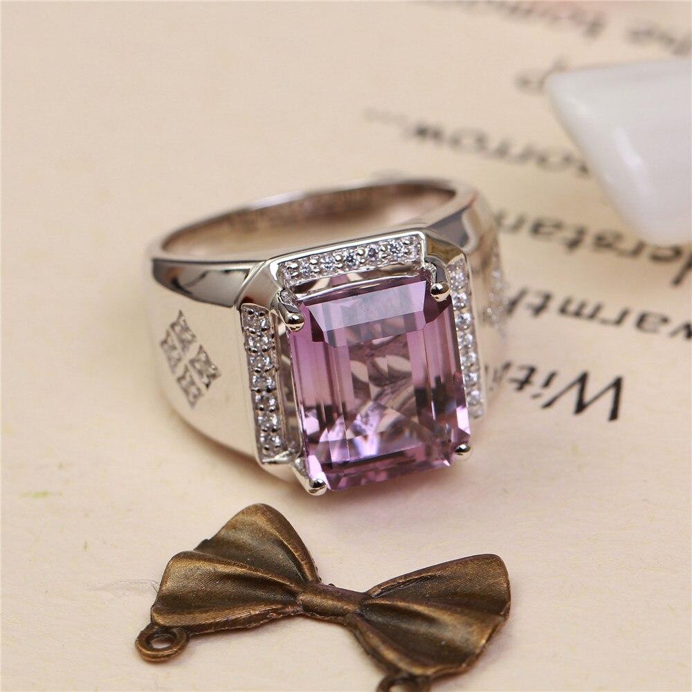 SGARIT usine gros pierres précieuses 925 bague en argent sterling bijoux naturel améthyste violet cristal réglable anneau pour homme - 2