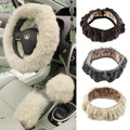 1pc Charm Warm Short Wool Plush car Steering Wheel Cover woolen Car Handbrake Accessory hot selling