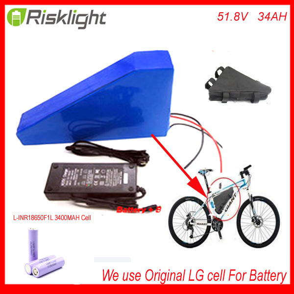 51.8V 34AH 14S Ebike Triangle lithium battery 52V 34Ah li-ion battery pack for 8fun BBS03 48V 1000W mid drive motor Use LG Cell 48v 34ah triangle lithium battery 48v ebike battery 48v 1000w li ion battery pack for electric bicycle for lg 18650 cell