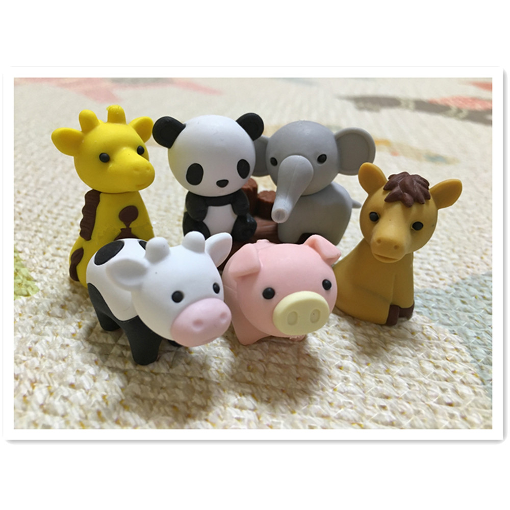 12 PCS/Set Cute Kawaii Animal Zoo Eraser  Rubber Eraser Set School Office Erase Supplies Kids Gifts