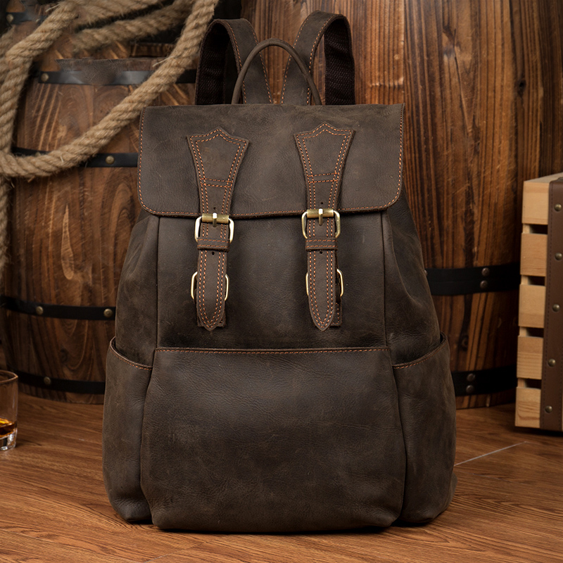 Crazy Horse Cowhide Men Backpack Genuine Leather Vintage Backpack Travel Casual School Book Bags Brand Male Laptop Rucksack 8110 new arrival 2016 classic vintage men backpack crazy horse genuine leather men bag travel cowhide backpacks school bags li 1320