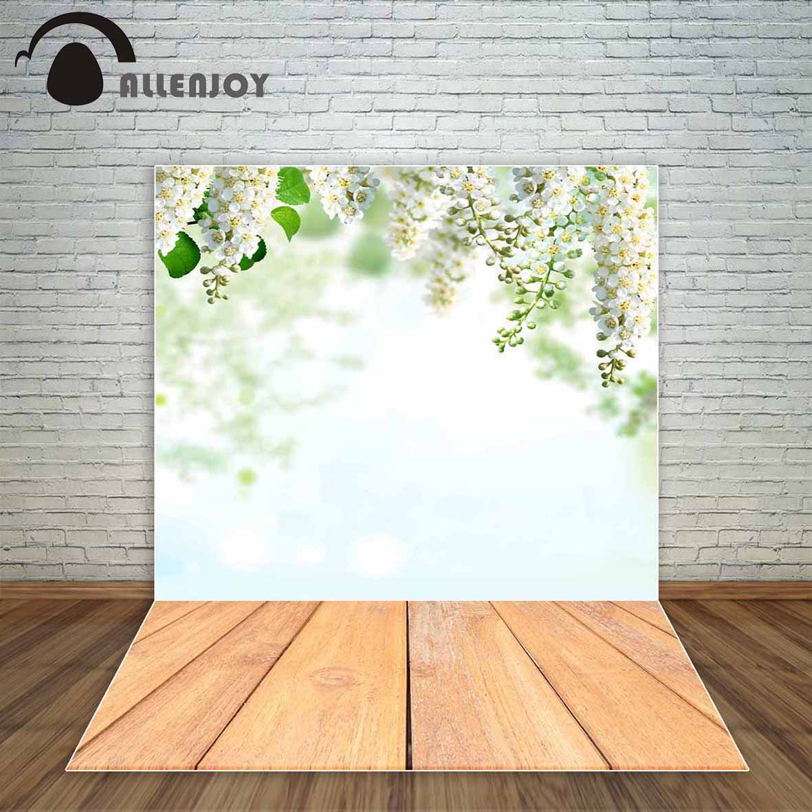 Bokeh Flowers Wedding: Allenjoy Spring Backdrop White Flowers With Wood