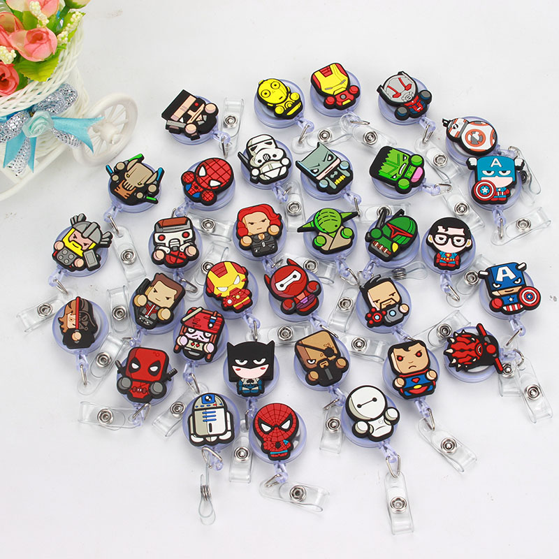 50 Pcs/lot 2018 Marvel Superman Design Nurse Retractable Badge Reel Pull ID Card Badge Holder Belt Clip Hospital School Office