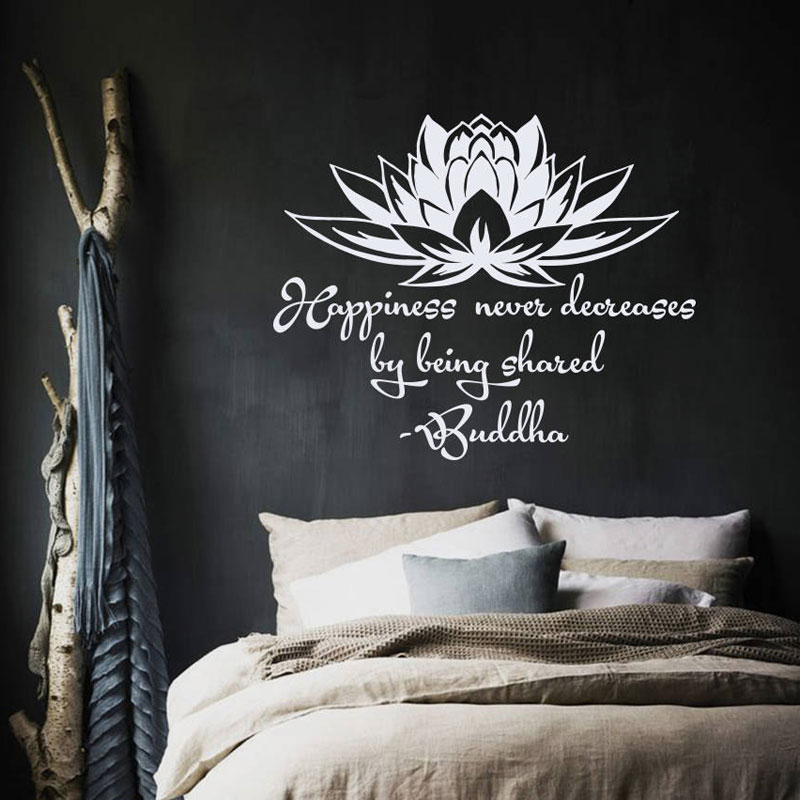 Wall Decal Quote Happiness Never Decreases By Being Shared Buddha Lotus Meditation Wisdom Yoga Studio Vinyl Sticker Murals B717 ...