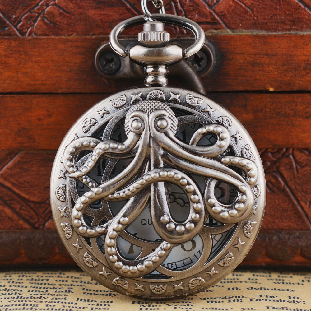Doctor Who Pocket Watches Beautiful Compass Pattern Vintage Bronze Quartz Pocket Watch With Chain Necklace For Women And Men
