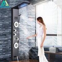 Черный водопад дождь Душ панель кран светодиод для ванной комнаты Душевая система температура цифровой экран тела Массажная струя смесите