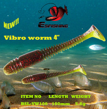 5pcs 10cm/5.6g Esfishing Artificial Soft Bait Vibro Worm 4″ Fishing Lure Soft Swimbait Tackle Lures