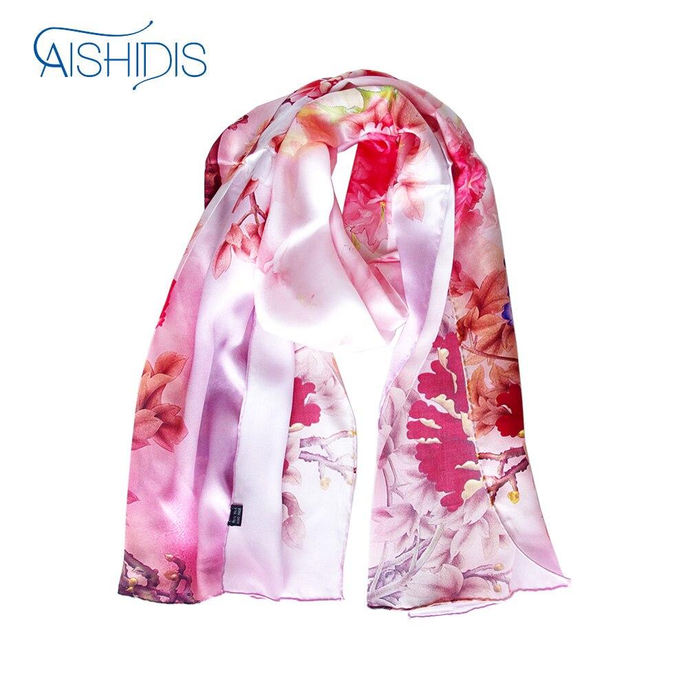 100% soie longue écharpe rouge fleur impression châles enveloppe longue serviette 52 cm W x 175 cm nouveau Style