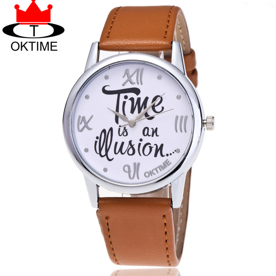 OKTIME Leather Time is an Question Watch Casual Fashion Ladies Women Quarzt Wrist Watches Relogio Feminino 2072 top quality all real carbon fiber car inside air vent outlet lh rh decorative frames trims covers for 2015 2017 new ford mustang