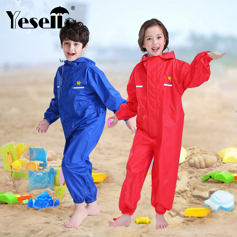 Yesello Nylon Blue Kids Rain Coat Outdoor Waterproof Raincoat Children Windproof Poncho Boys Girls Rainwear Red Rainproof Coat
