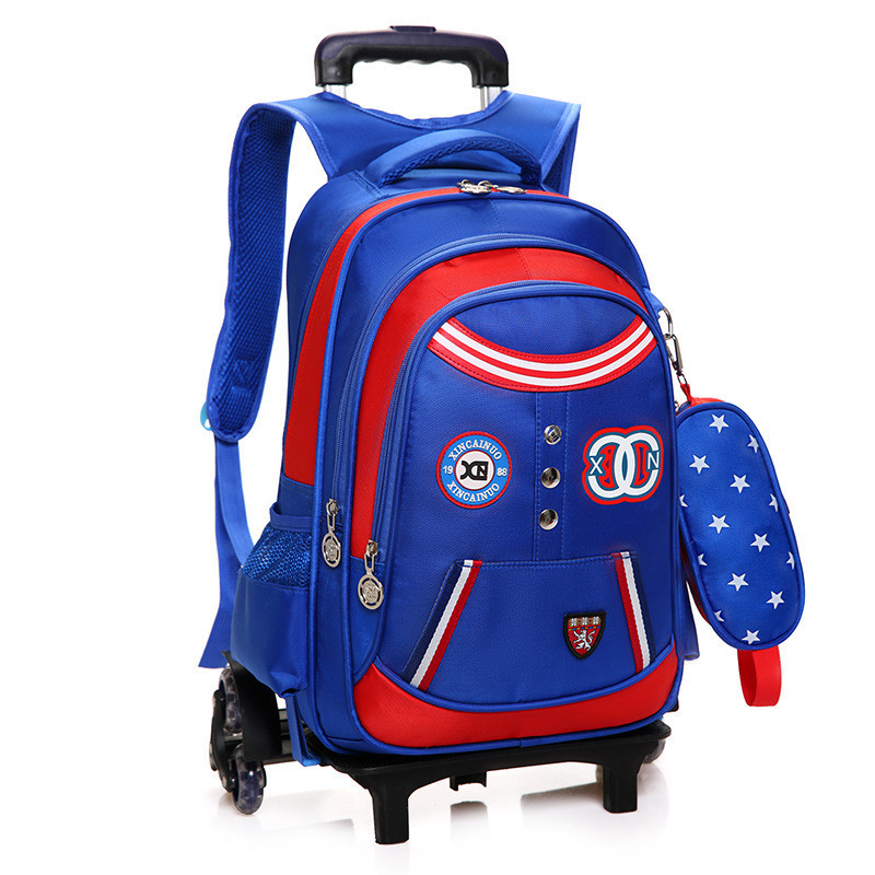 Children School Bags with 3/2 Wheels Removable Kids Child Trolley School Bag Boys Girls Rolling Backpack Wheeled Bookbag hynes eagle 3 pcs set 3d letter bookbag boys backpacks school bags children shoulder bag mochila girls exo printing backpack