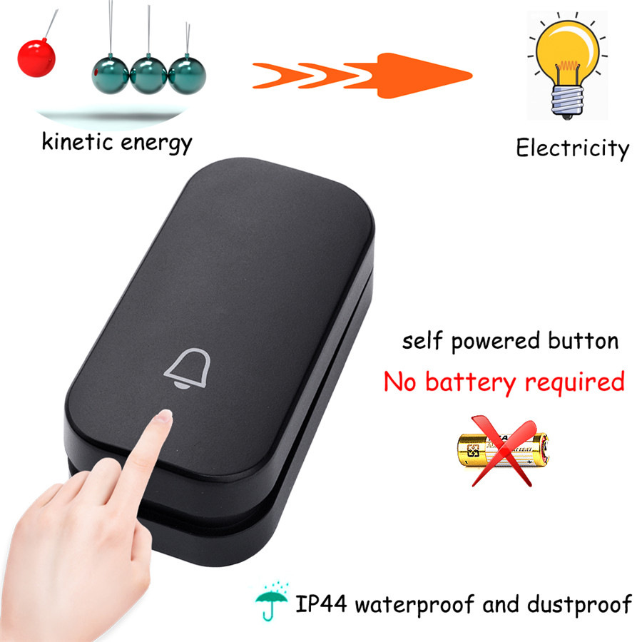 SMATRUL self powered New Waterproof Wireless Doorbell EU Plug 150M Remote smart Door Bell Chime ring  1 2 button 1 2 3 receiver no battery Deaf Gorgeous lighting black 3