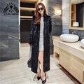 Novas mulheres da moda longo X-senhoras casaco de pele de coelho genuine real natural 130 CM longa jaqueta outwear longo casaco