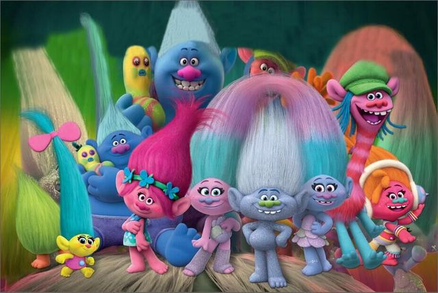 7x5ft Trolls Family Group Dance Happy Birthday Music