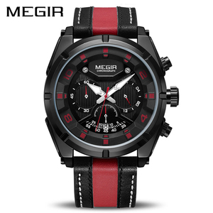 Image 2 - MEGIR Chronograph Sport Watch Men Quartz Wristwatches Clock Fashion Leather Army Military Watches Hour Time Relogio Masculino