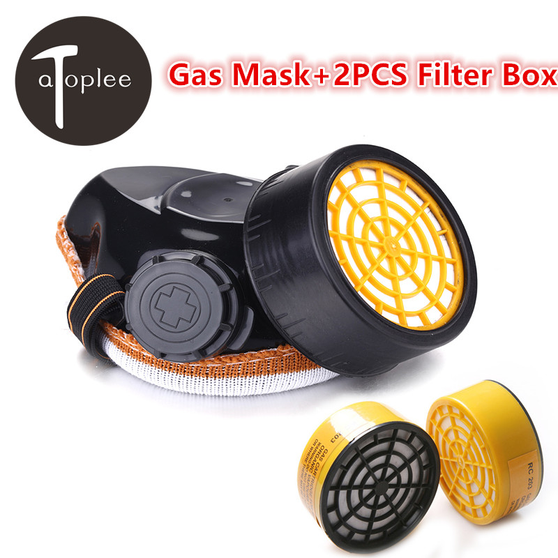 1pc Single Cartridges Gas Mask+2PCS Filter Box Anti-virus Masks Chemical Paint Safety Filter Respirator Activated Carbon Mask new safurance protection filter dual gas mask chemical gas anti dust paint respirator face mask with goggles workplace safety