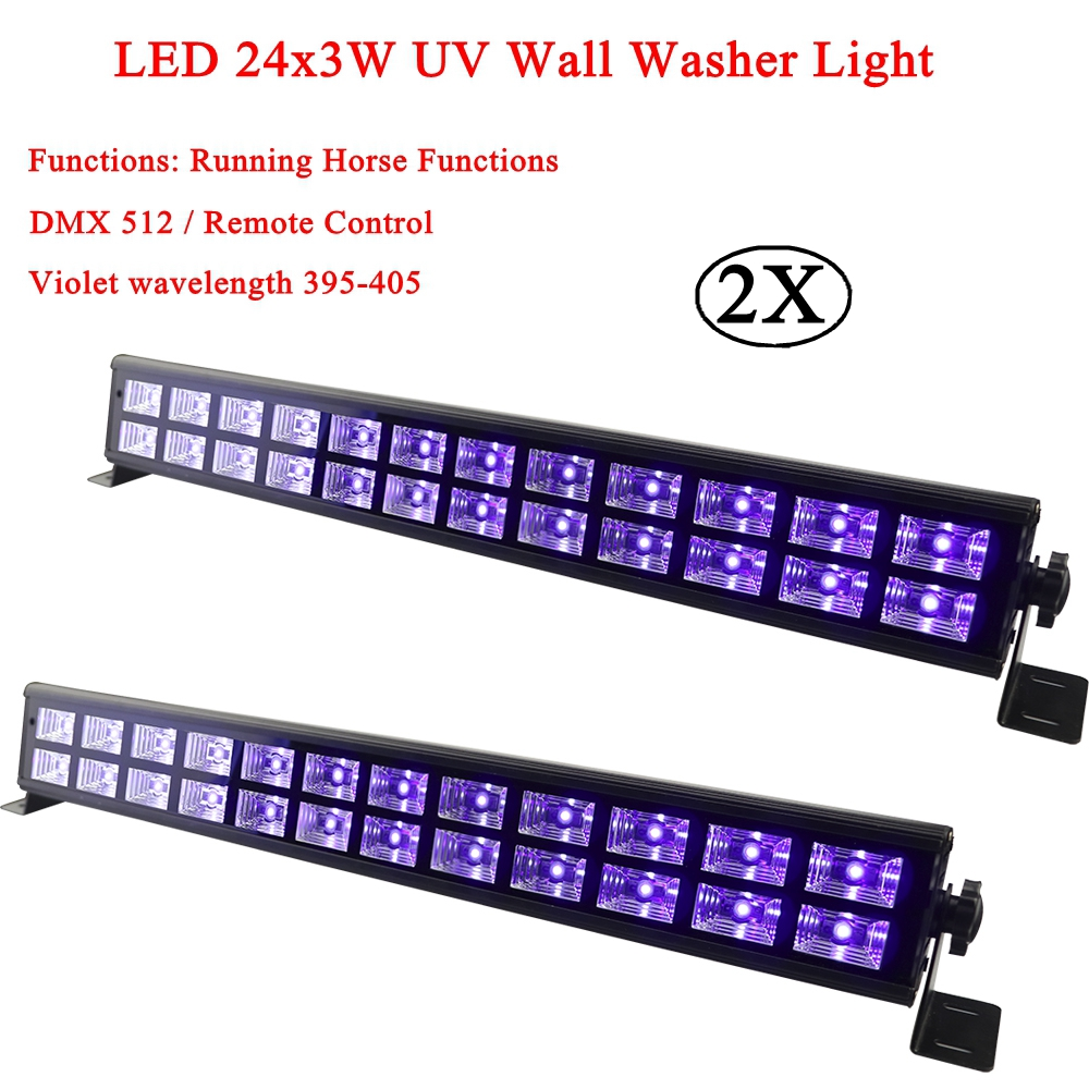2Pcs/Lot DJ Equipment 24X3W LED UV Bar Light UV Stage Light Violet Led Bar Laser Projection Lighting Party Club Disco Light