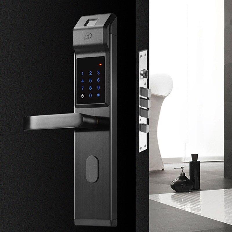 Fechadura da porta inteligente impressão digital/senha digital/chave/ic cartão 4 em 1 eletrônico fechaduras inteligentes para casa escritório apartamento - 5