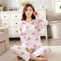 Mulheres Coral Fleece Pijama 2016 do sexo feminino inverno flanela pijamas de manga comprida terno Ms. quente sleepwear Pijama Mujer Feminino Primark